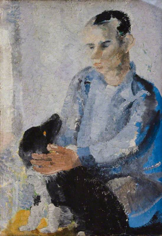 Ben with Slinky (also known as 'A Portrait of Ben Nicholson with Slinky the Dog')