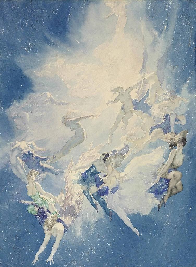 1930_Падение ангелов (Falling Angels)_67.9 x 49.5_бумага, акварельи карандаш_Частное собрание.jpg