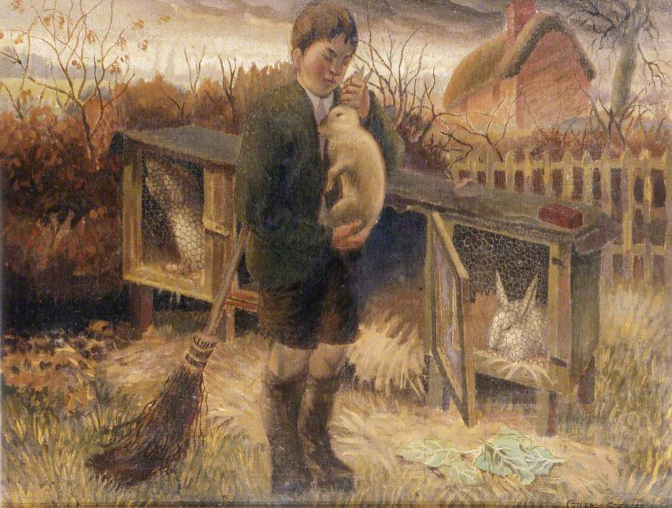 Boy Holding a Rabbit