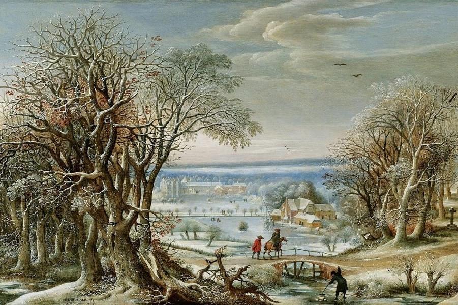 Вид аббатства Гренендаль недалеко от Брюсселя зимой_1621_45.7 х 86.4_д.,м._Частное собрание.jpg