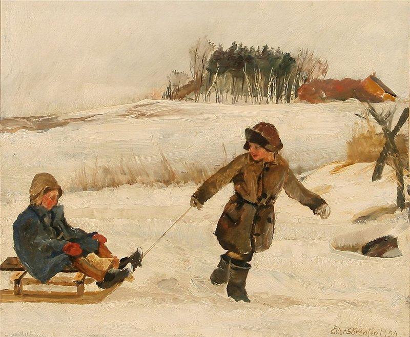 Eiler Sorensen Two children sledging on a road