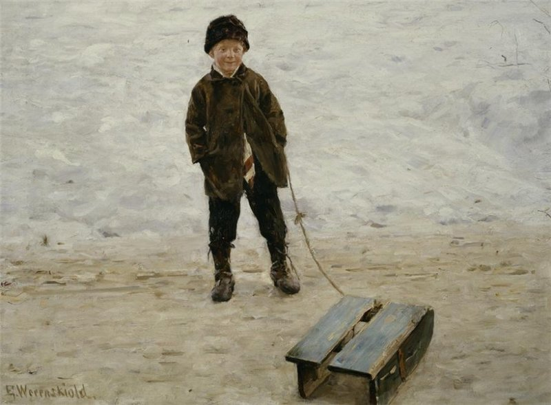 Erik Theodor Werenskiold Boy with Sledge.