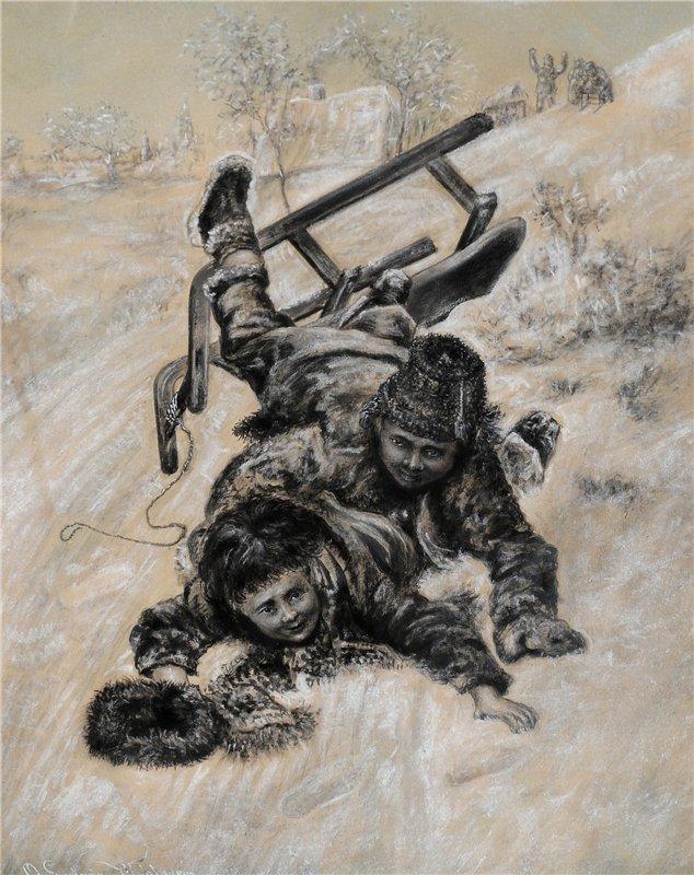 Olaus Ludwig Wahlgren Pojkar med kalke.