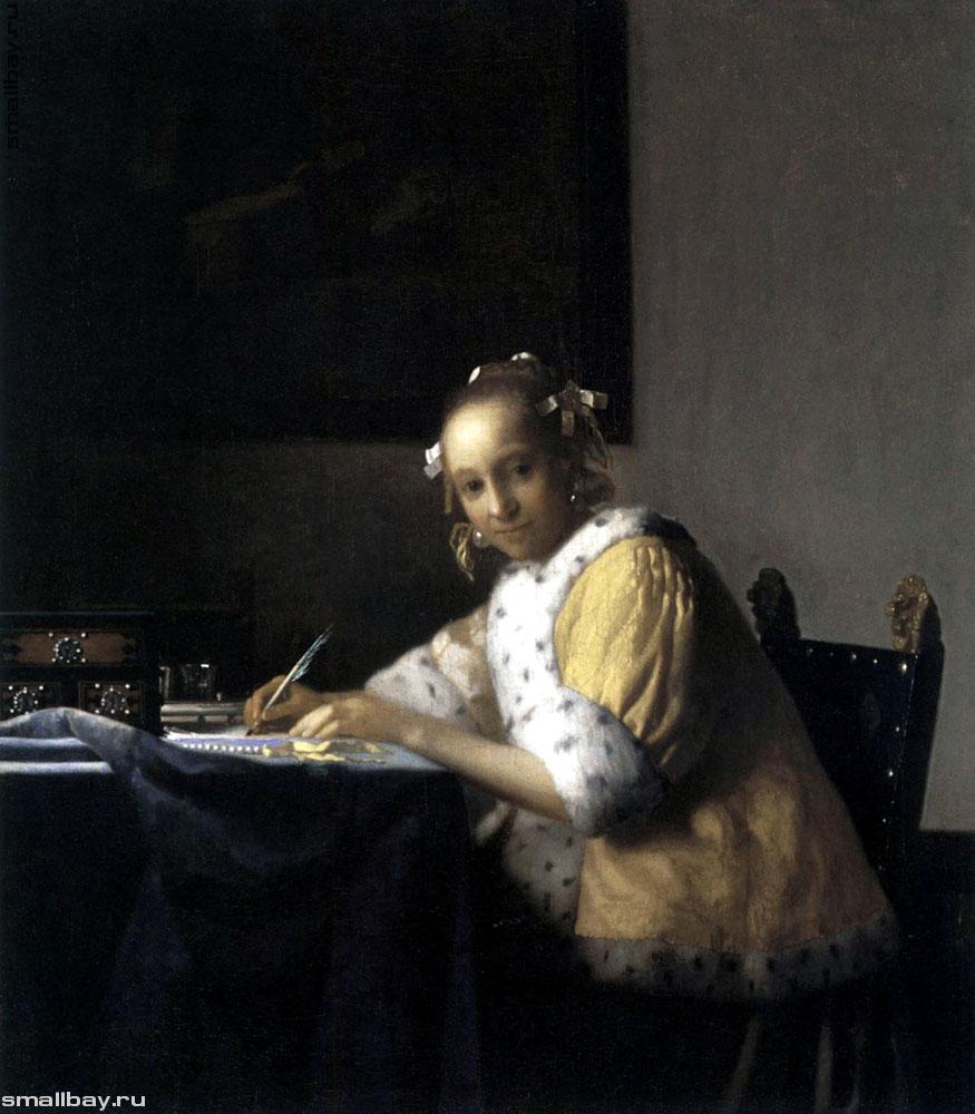 Девушка, пишущая письмо, 1665