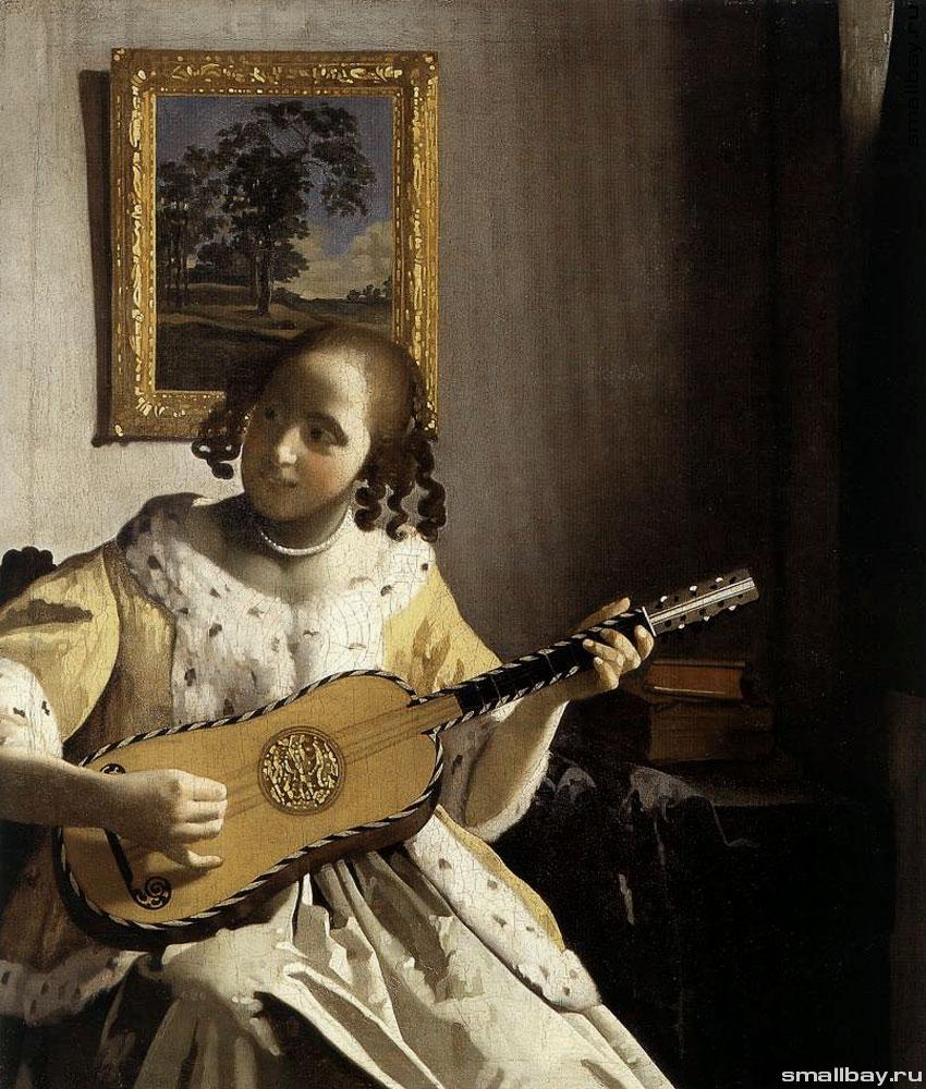 Молодая женщина с гитарой, 1671–1672