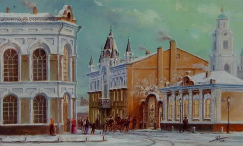 Старая Астрахань, ул.Желябова, картон, масло