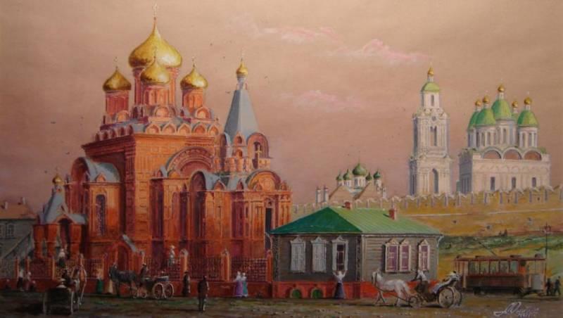 Старая Астрахань. Единоверческий храм, акварель