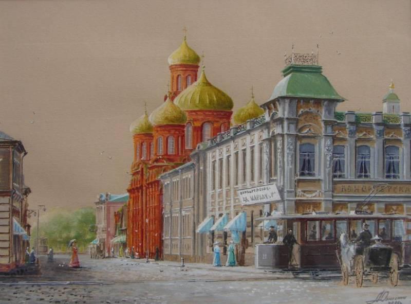 Старая Астрахань. Торговый дом Шарлау, акварель
