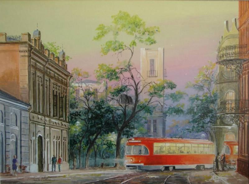 Старый трамвай, акварель
