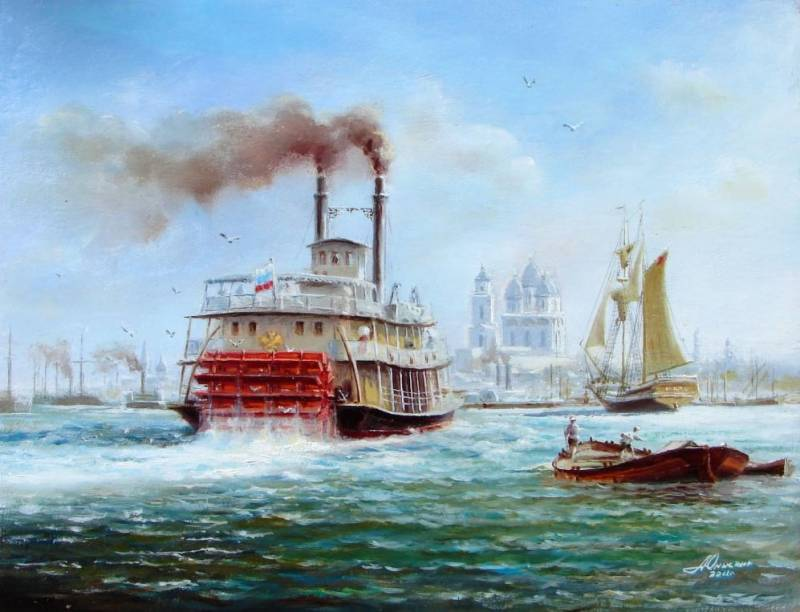 Старая Астрахань, первый пароход, картон, масло