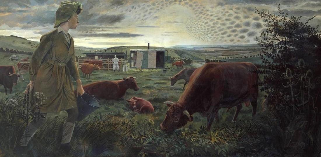 A Land Girl and the Bail Bull 1945 by Evelyn Dunbar 1906-1960