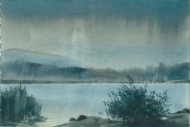 Вечерний дождь на озере