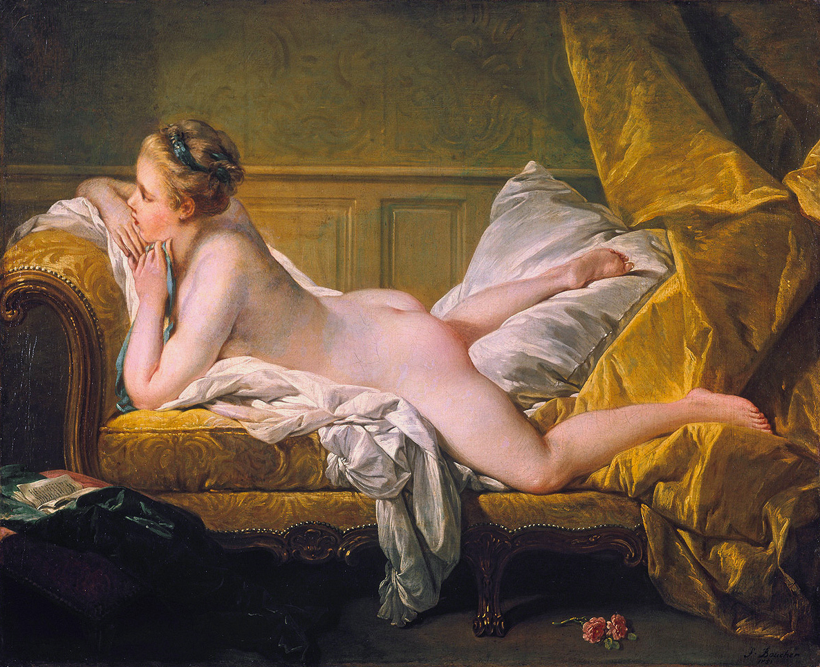 Resting Girl (Louise O'Murphy), by Franзois Boucher