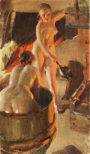 Андрес-ЦорнШвеция.Девушки-из-Даларны-в-бане.1906