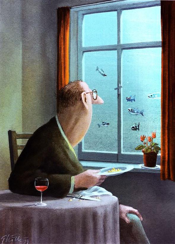 Андре охотно покормил бы рыбок, но опасался последствий