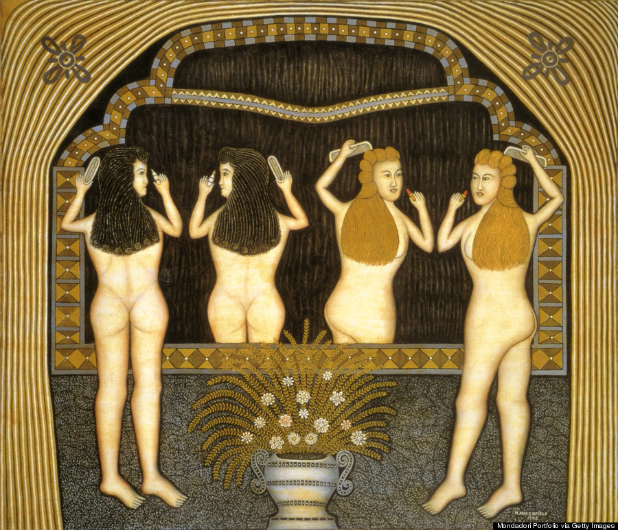 Two Women in Front of a Mirror, by Morris Hirshfield, 1943, 20th Century, oil on canvas, 133 x 152 cm