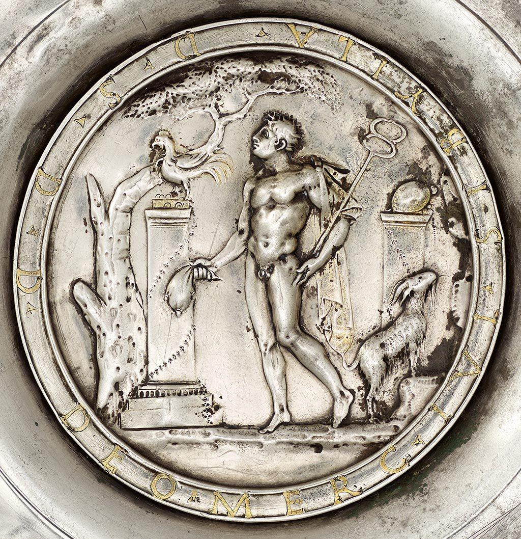 VEX.2014.1.18: Plate with Mercury in rustic sanctuary