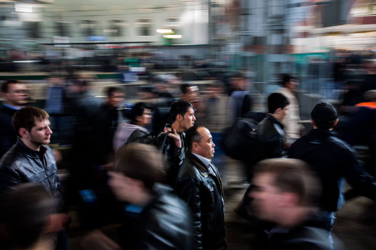 Moscow. Kazansky railway station. Arrival of the train from Tashkent. Labour migrants buy train tickets a month ahead, as spring is the beginning of the working season.More than 10 million people from Central Asia migrate to Russia every year in searc