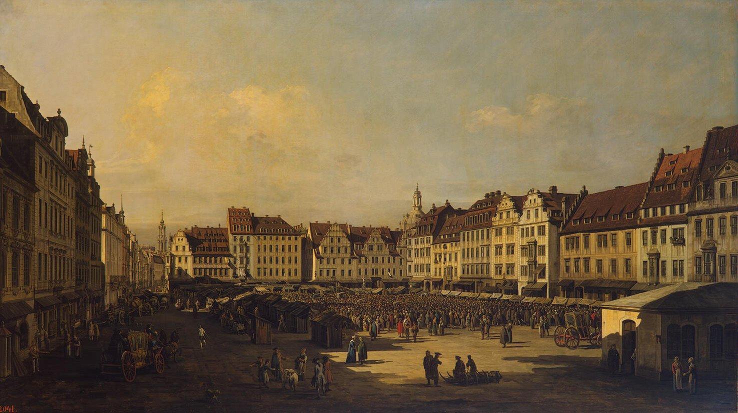 [[[ Беллотто, Бернардо - Площадь Cтарого рынка в Дрездене