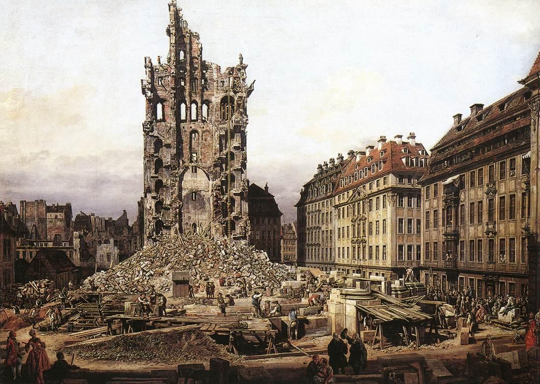 Руины Кройцкирхе в Дрездене