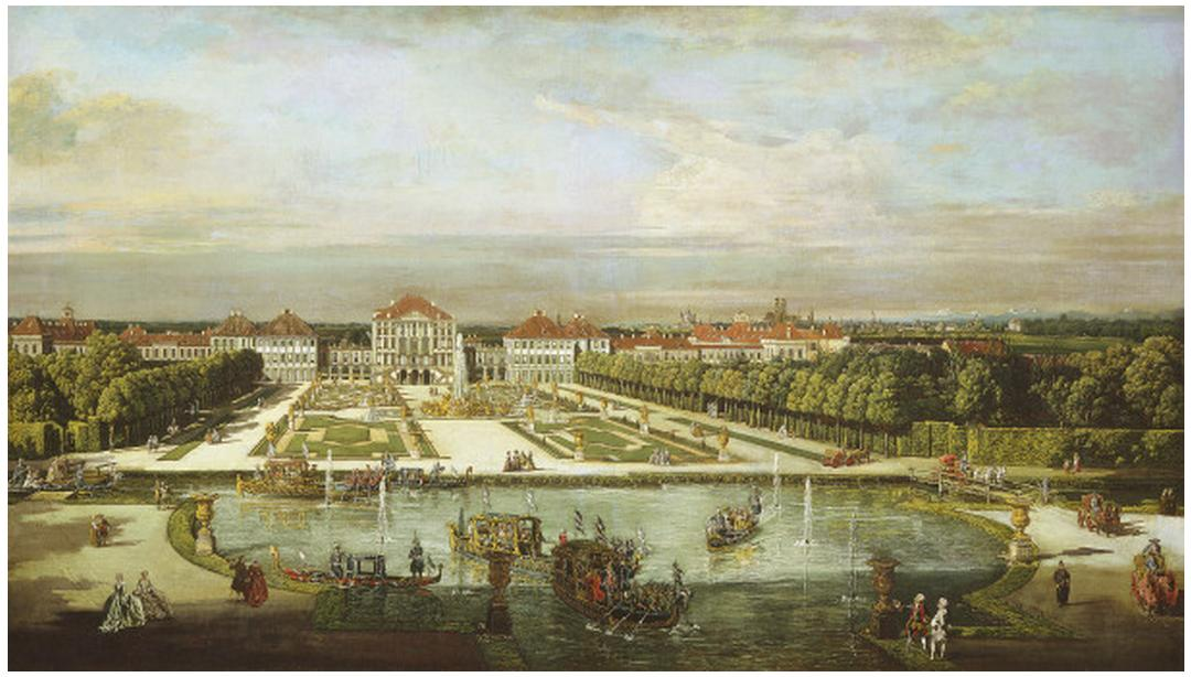 [[[ BERNARDO BELLOTTO (VENICE 1721 - 1780 WARSAW). Nymphenburg Palace, Munich, c. 1761.  oil on canvas