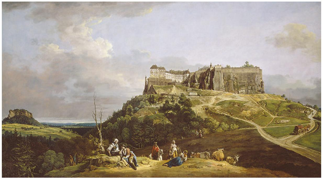 [[[ BERNARDO BELLOTTO (VENICE 1721 - 1780 WARSAW). The Fortress of Königstein, 1756-1758.  oil on canvas. 133 x 235.7 cm (1)