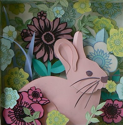 sitting pink rabbit