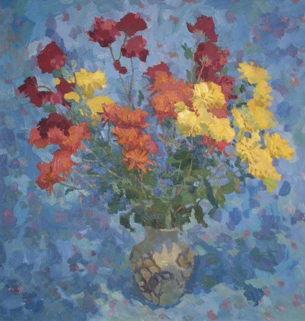Хризантемы на синем