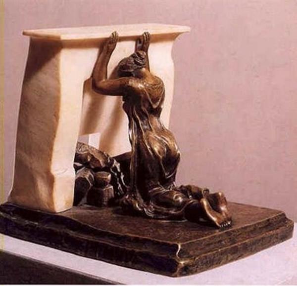 Mulher Ajoelhada diante de uma Chaminé