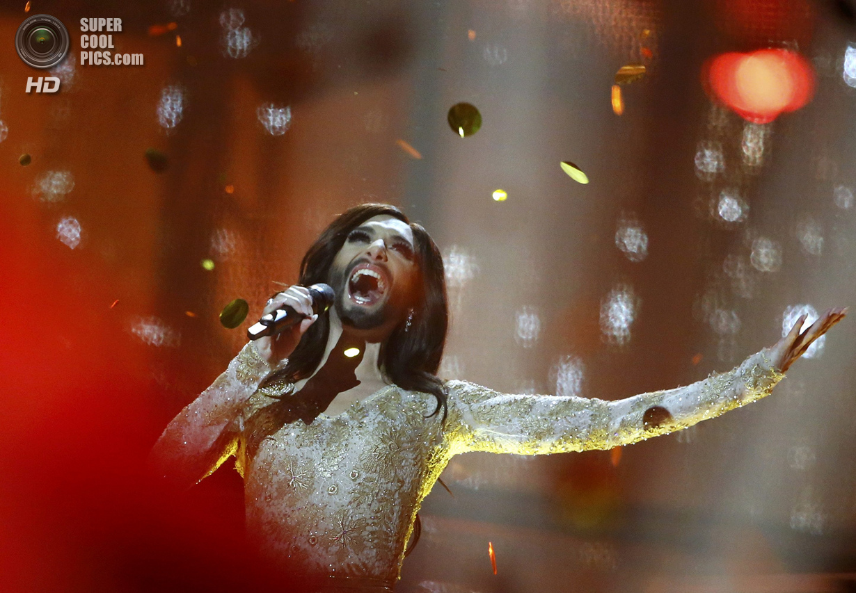 Conchita Wurst representing Austria performs after winning grand final of the 59th Eurovision Song Contest in Copenhagen