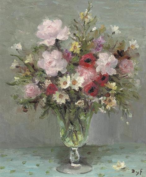 Roses et anémones au verre de mariée