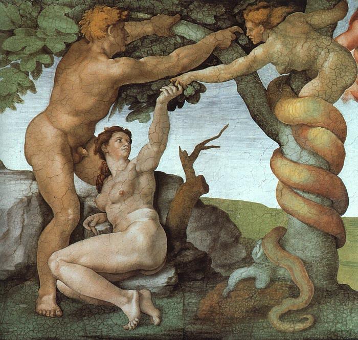 Микеланджело Буонаротти. «Грехопадение». Фрагмент росписи Сикстинской капеллы