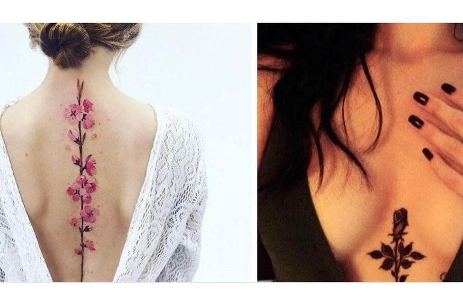Стильные татуировки под грудью и на спине