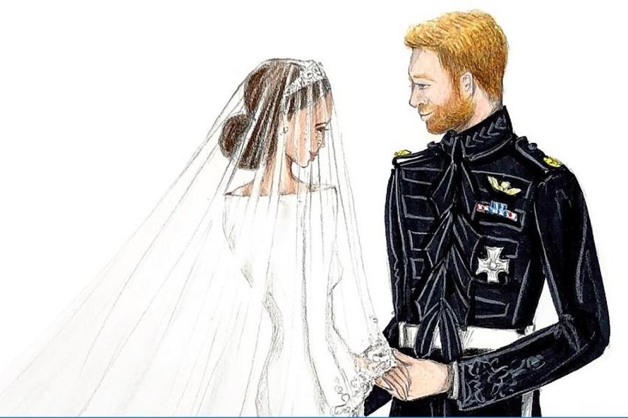 Гарри и Меган, как вы их раньше не видели: зарисовки с королевской свадьбы