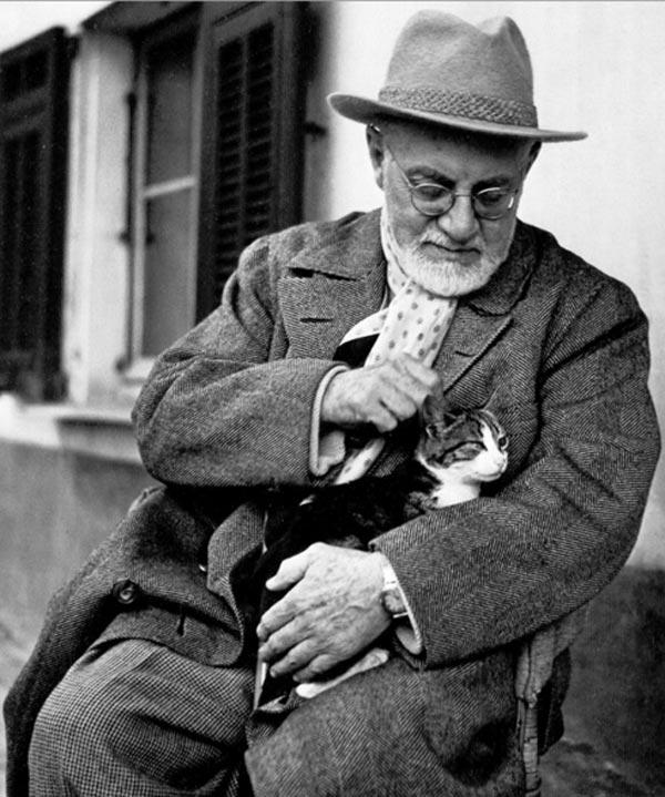 Анри Матисс со своим любимым котом Минуше
