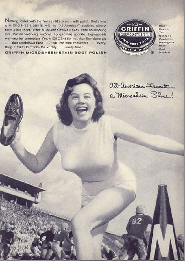 О пользе пин-апа в рекламе польской обуви Slazy Microsheen обувь, Реклама, потому, пистолет, штиблеты, пусть, сияет, угрожающей, траектории, несутся, мужские, башмаки, будут, проданы, тысячи, покажет, мужчин, посмотрят, красотку, мимоходом