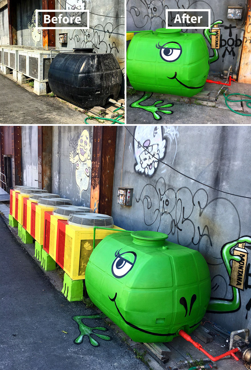 Веселые герои Тома Боба знаете, улицы, можно, поработал, принципу, видит, коробка, мусорный, скамейка, саксофон, становятся, веселее, послужить, ржавая, труба, превращается, которых, работы, художник, Смотрим