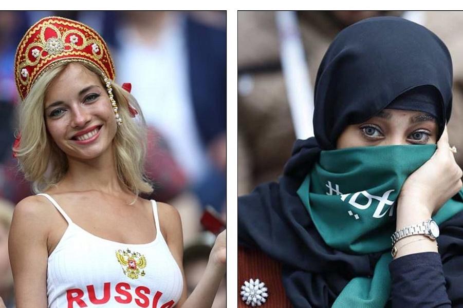 Два лица Чемпионата мира: гламурные россиянки и саудовские фанатки