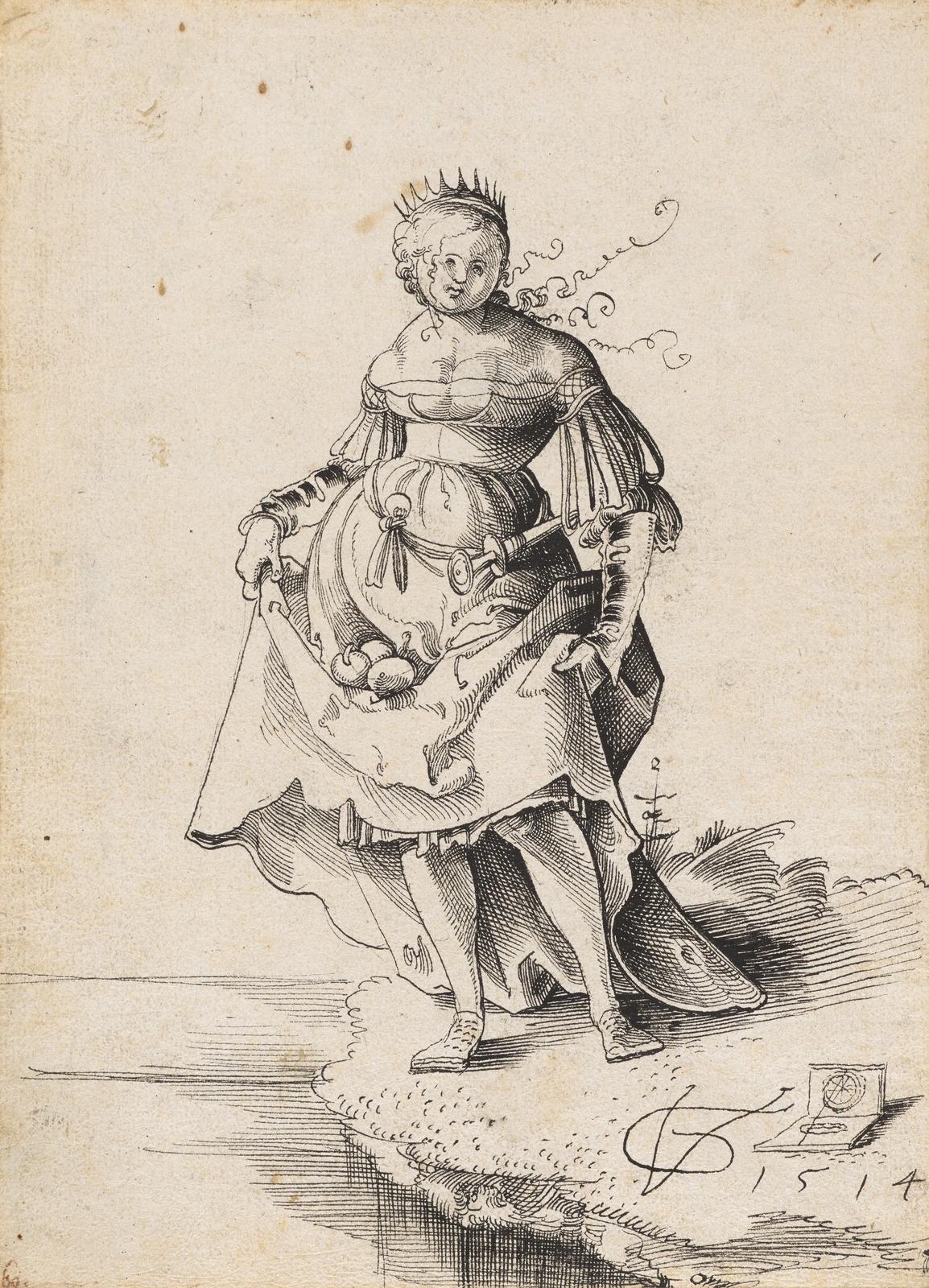 Коронованная девушка, несущая яблоки в юбке (Crowned girl, carrying apples in the skirt)_21.6 х 15.5_бумага, перо черным тоном_Базель, Кунстмузеум.jpg