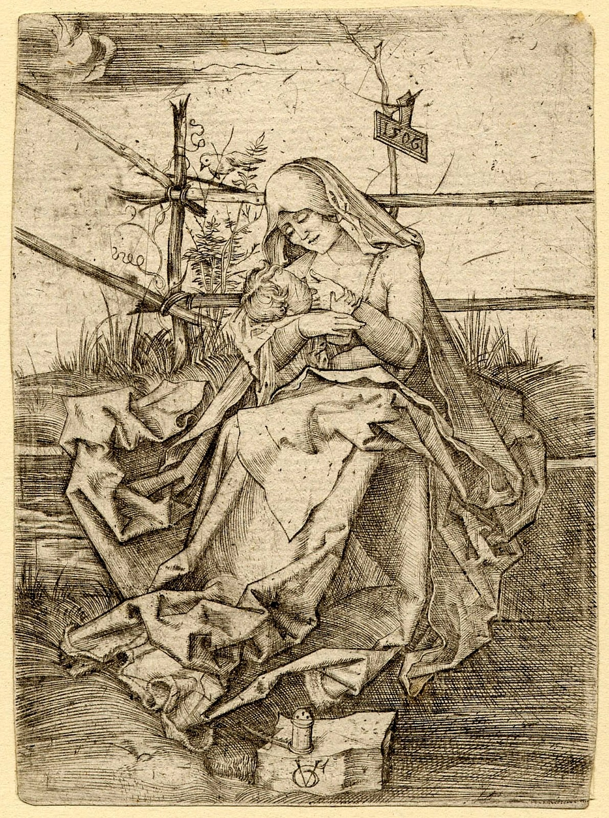 Мадонна с Младенцем, сидящая на скамье из дёрна (по А.Дюреру) (The Virgin and child seated on a grassy bank, after Albrecht Durer)_1506_10.8 х 80_резцовая гравюра.jpg