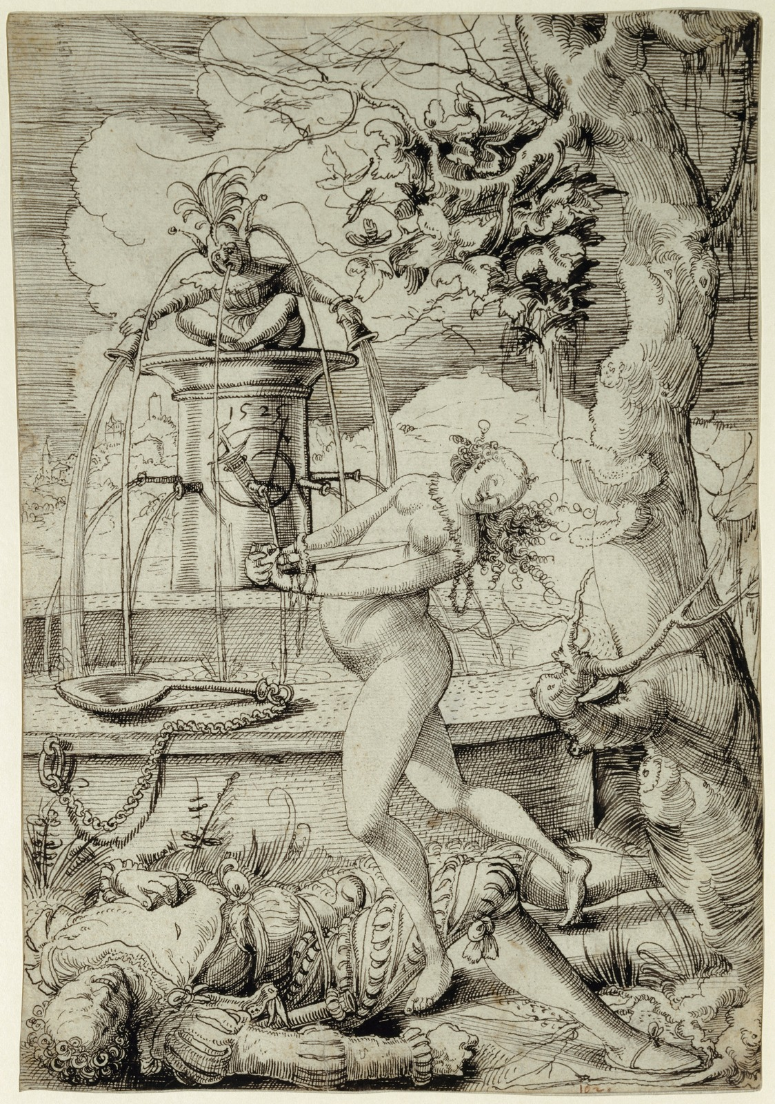 Пирам и Фисба (Pyramus und Thisbe)_1525_29.2 х 20.3_бумага, перо черным тоном_Базель, Кунстмузеум.jpg