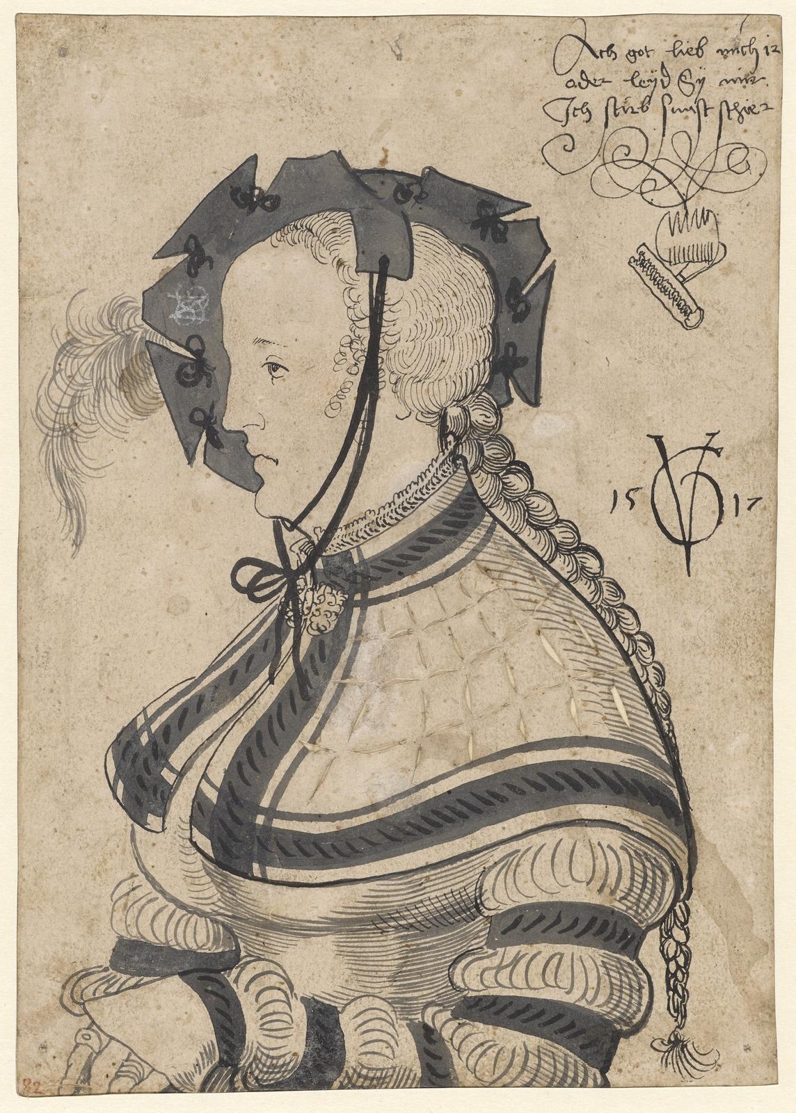 Портрет женщины в профиль (Halbfigurenbildnis einer Frau im Profil)_1517_21.3 х 14.9_бумага, перо черным тоном и кисть серым_Базель, Кунстмузеум.jpg