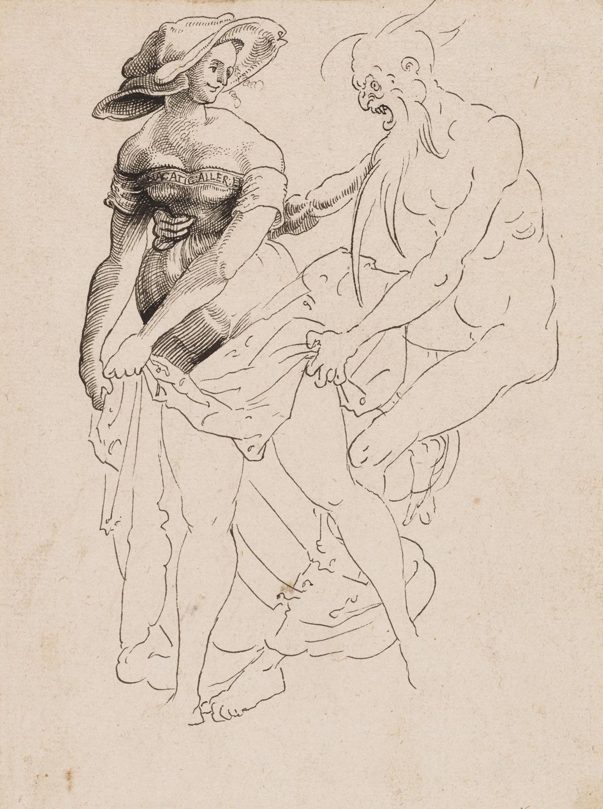 Похотливый старик и молодая шлюха (Lusterner Alter und junge Dirne)_ок.1518_19.5 х 14_бумага, перо черным тоном_Базель, Кунстмузеум.jpg