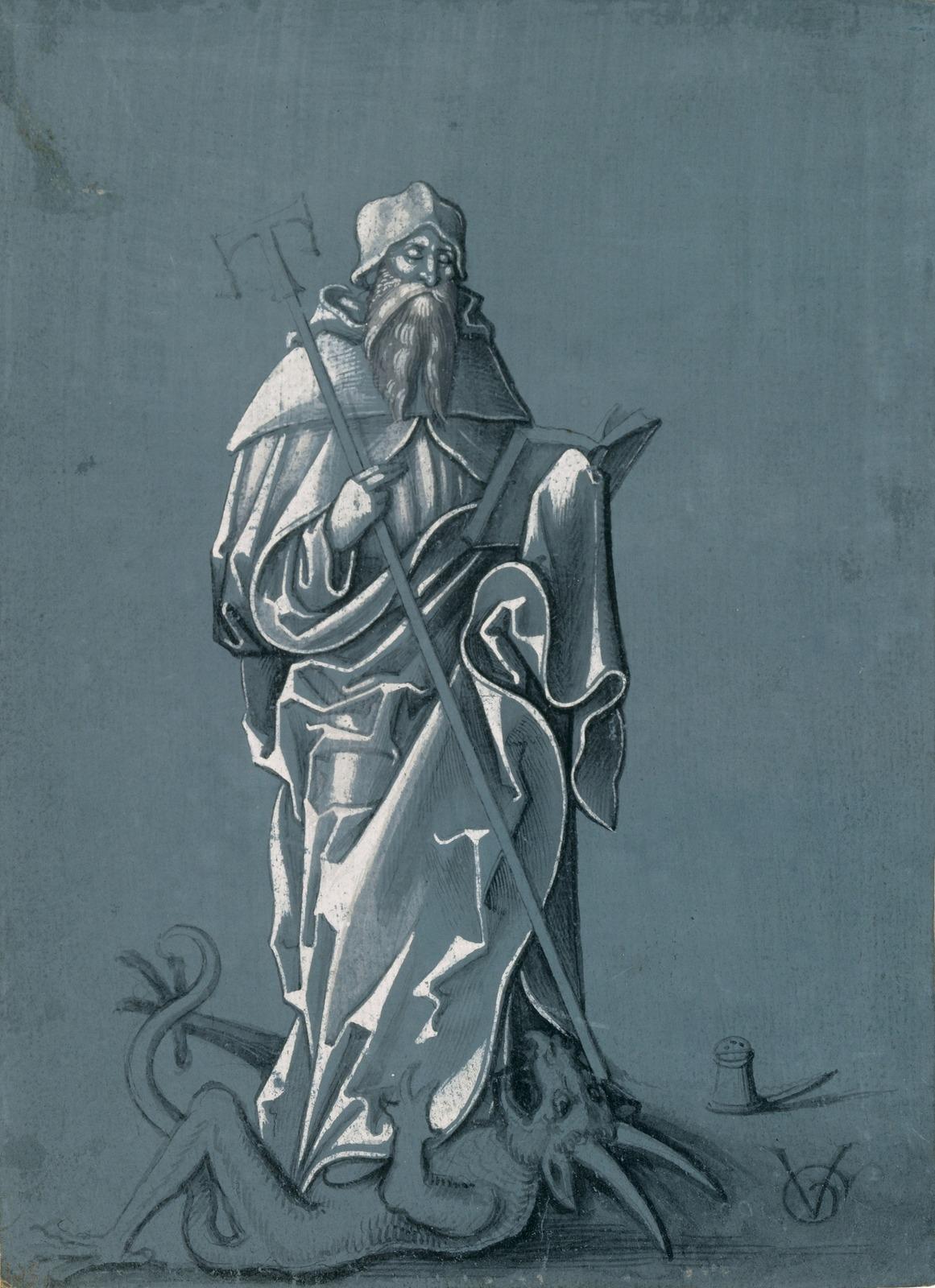 Святой Антоний, стоящий на дьяволе (Saint Antony, standing on the devil)_ок.1507_21.5 х 15.4_бумага, кисть черным, серым и белым тоном_Базель, Кунстмузеум.jpg