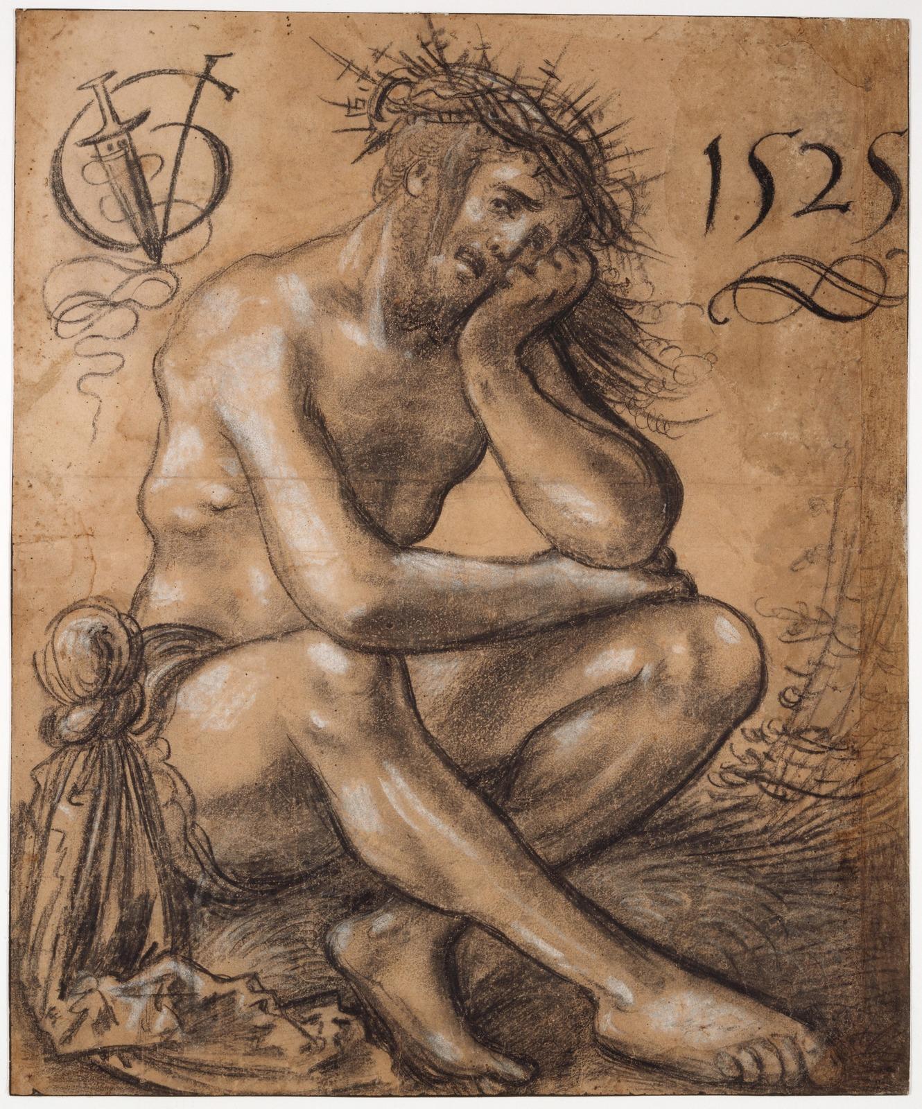 Скорбящий Христос (Christus in der Rast)_1525_45 х 35_черный и белый мел_Базель, Кунстмузеум.jpg