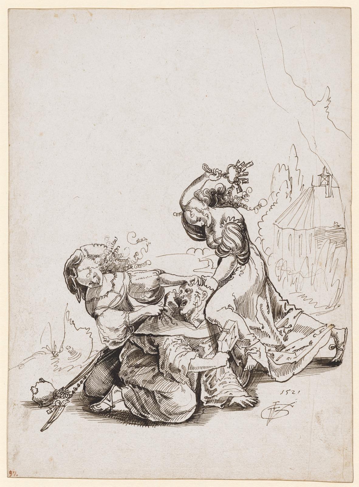 Две шлюхи избивают монаха (Zwei Dirnen uberfallen einen Monch)_1521_28.2 х 20.8_бумага, перо черным тоном_Базель, Кунстмузеум.jpg