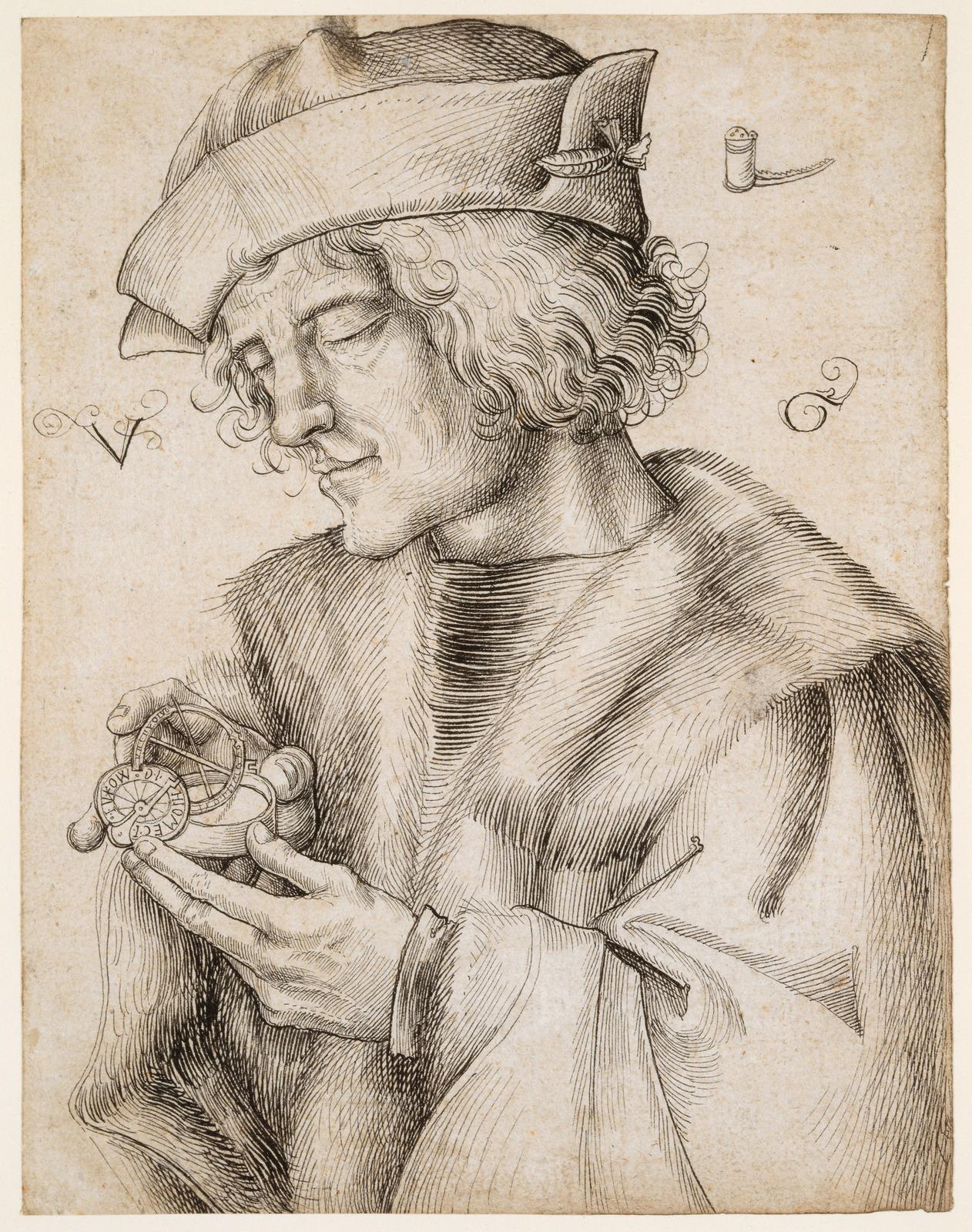 Портрет мужчины с карманными солнечными часами (Portrait of a man with pocket sundial)_1505-1508_19.2 х 14.8_бумага, перо черным тоном_Базель, Кунстм…
