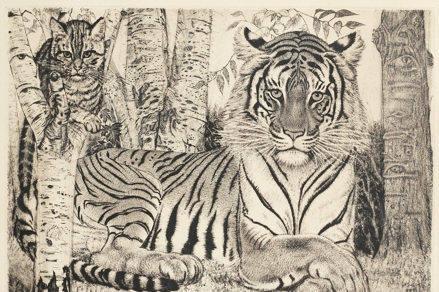 1950_Лежащий тигр и кот (Reclining tiger and cat)_29.7 x 39.3, лист 37,3 x 50,5_офорт.jpg