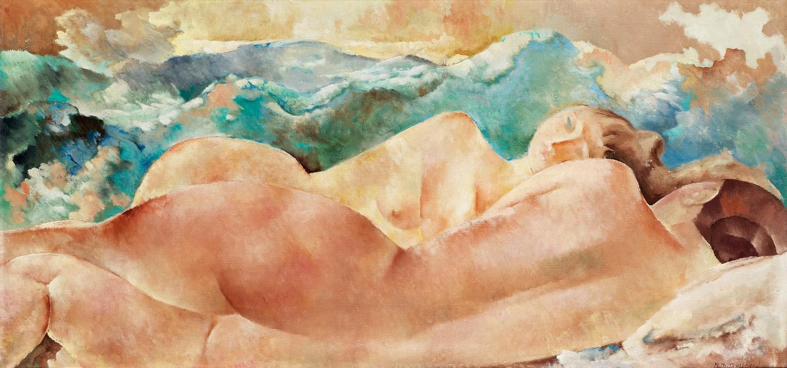 1922_Две обнаженных у озера (Two naked at the lake)_50 х 104_х.,м._Частное собрание.jpg