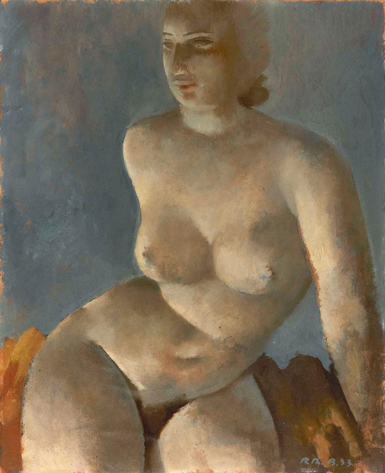1933_Сидящая обнаженная (Jeune Fille Nue Assise)_46 х 37.5_картон, масло_Частное собрание.jpg